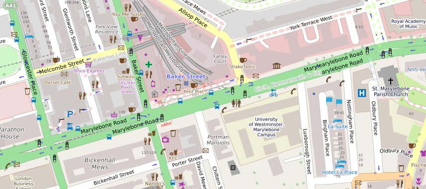 OpenStreetMap tile showing vicinity of Baker Street station